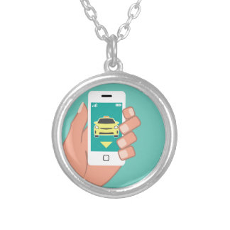 Call a Cab on Smart Phone Round Pendant Necklace