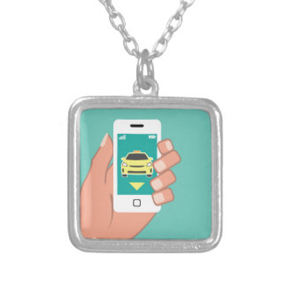 Call a Cab on Smart Phone Square Pendant Necklace