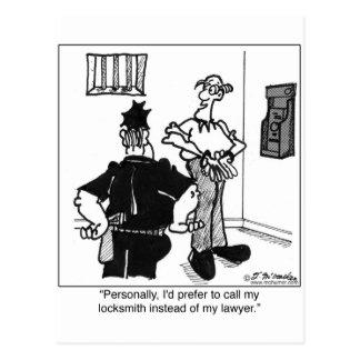Call A Locksmith, Not a Lawyer Postcard