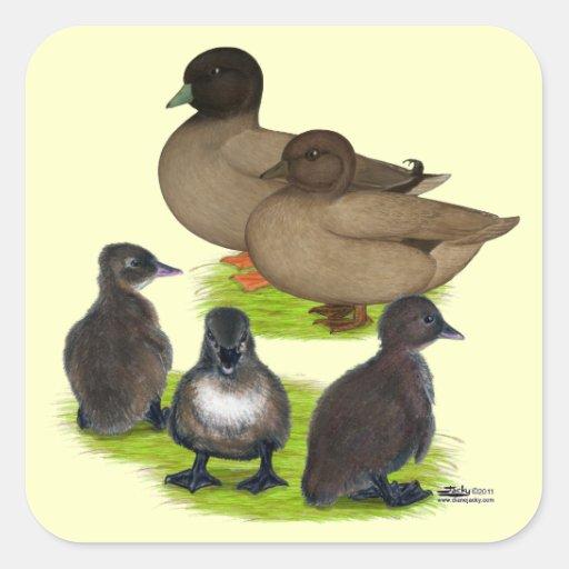Call Duck Khaki Family Square Sticker
