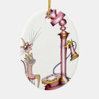 call me - a fun cat cartoon, tony fernandes ceramic ornament