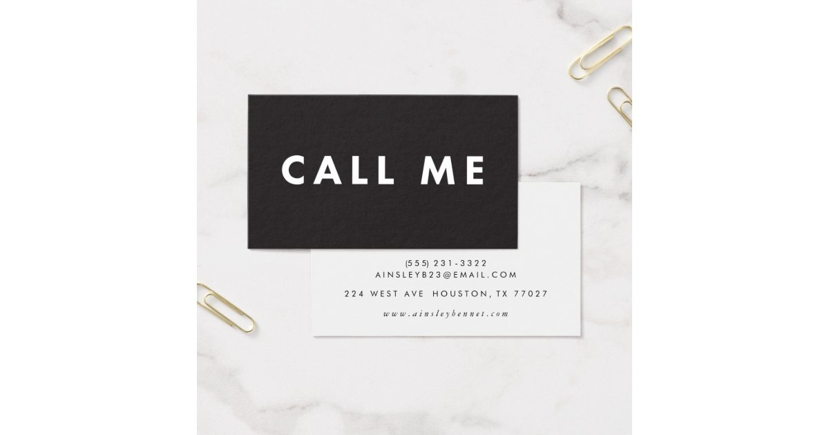 Call Me Bold Modern Networking Business Cards Zazzlecom - Networking business card template