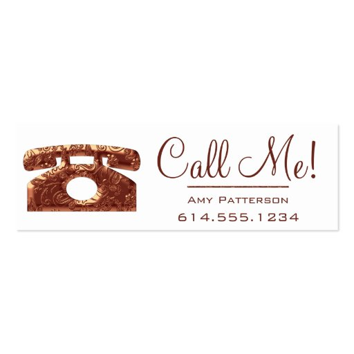 Call Me! Copper Telephone Dating Profile Cards 2 Business Card Template