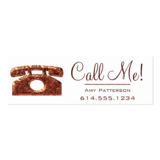 Call Me! Copper Telephone Dating Profile Cards 2 Mini Business Card