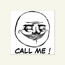 Call me ! - crazy man rubber stamp