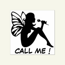 Call me ! - fairy girl smelling a flower rubber stamp