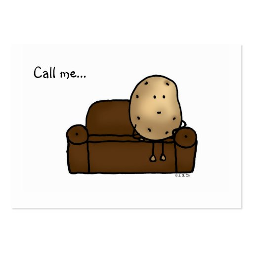 Call me...( funny couch potato ) business card templates