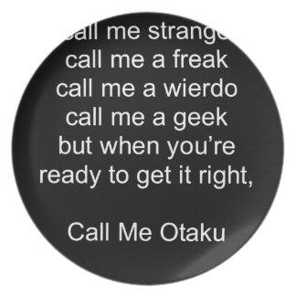 Call Me Otaku Melamine Plate