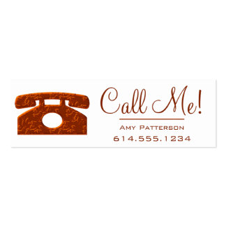 Call Me! Red Telephone Dating Profile Cards 3 Mini Business Card