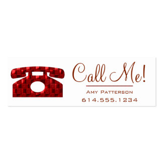 Call Me! Red Telephone Dating Profile Cards 4 Mini Business Card