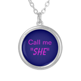 Call Me She Round Pendant Necklace