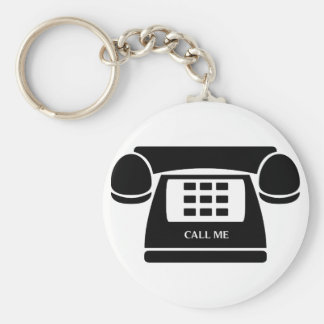 Call Me!  Telephone!  Let's Talk! Basic Round Button Keychain