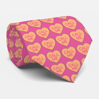 Call Me Valentine's Day Pink Orange Candy Hearts Tie