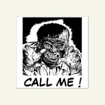 Call me ! - wolf man rubber stamp