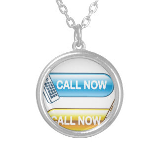 Call now button Web with house phone Silver Plated Necklace