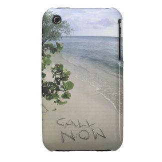 'Call Now' sand written on the beach, Jamaica iPhone 3 Case