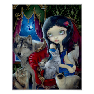 Call of the Night ART PRINT cat wolf gothic