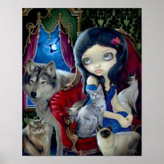 Call of the Night ART PRINT cat wolf gothic