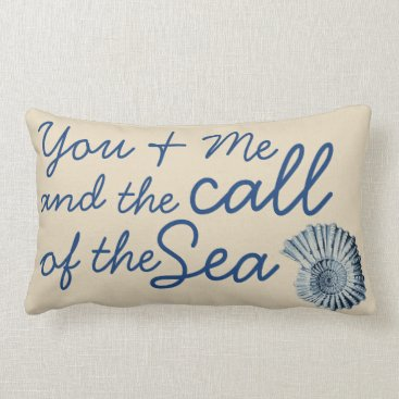 Beach Themed Call of the Sea Blue Spiral Seashell & Family Name Lumbar Pillow