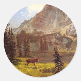 Call of the Wild by Albert Bierstadt 1876–77 Classic Round Sticker
