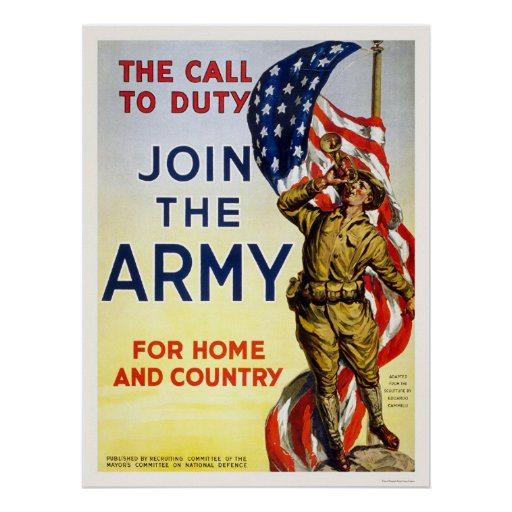 Call to Duty - Join the Army for Home and Country Print