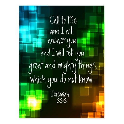 call to me bible verse jeremiah 33 3 postcard