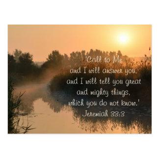 Call to Me, Bible Verse Jeremiah 33:3 Postcard