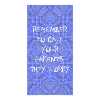 """Call Your Parents They Worry"" Purple Pattern Card"