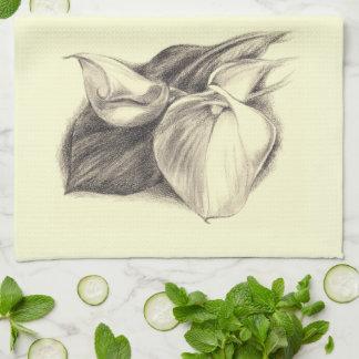 Calla Lilies Drawing Towel
