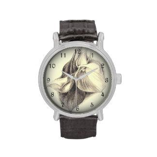 Calla Lilies Drawing Wrist Watch