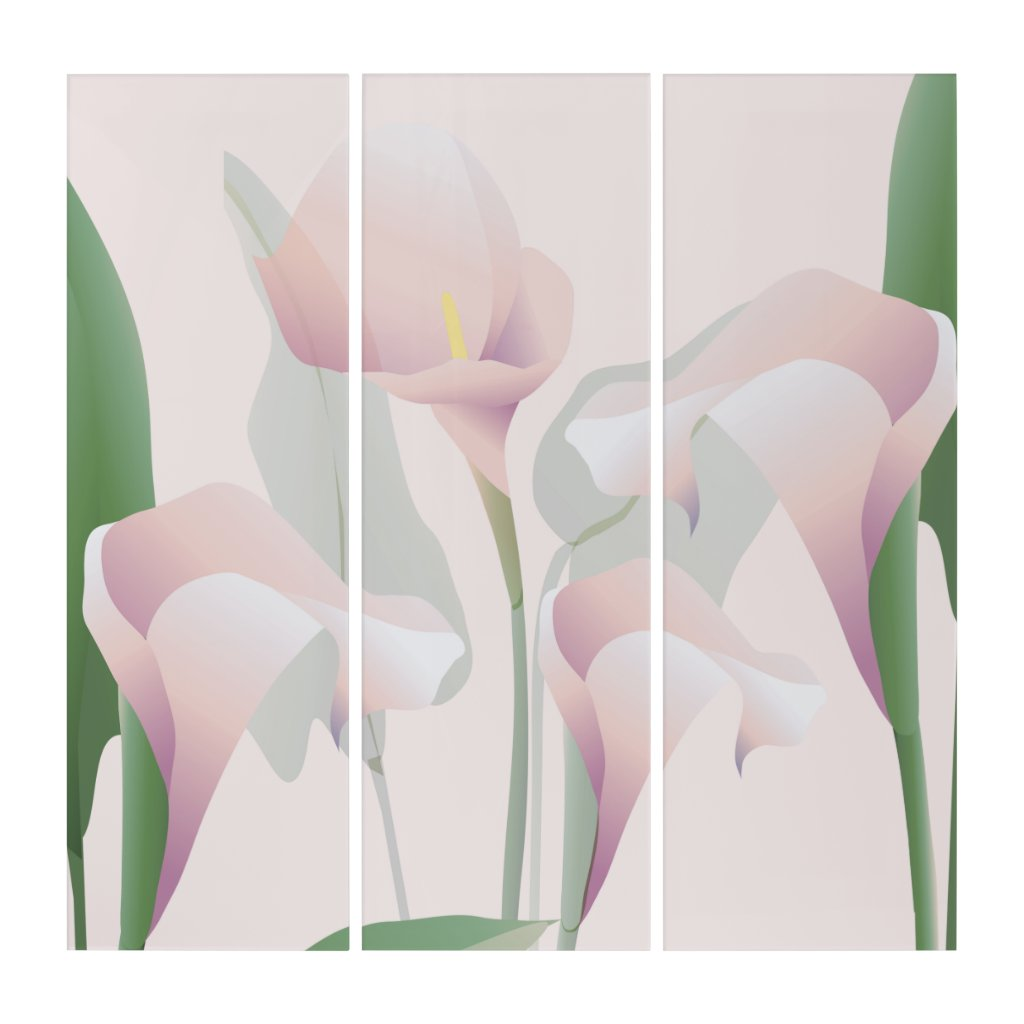 Calla Lilies Lily Flowers Floral Pink Triptych