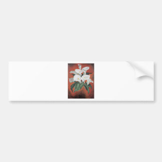 Calla Lilies On A Red Background Bumper Sticker