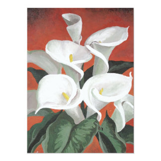 Calla Lilies On A Red Background Personalized Invite