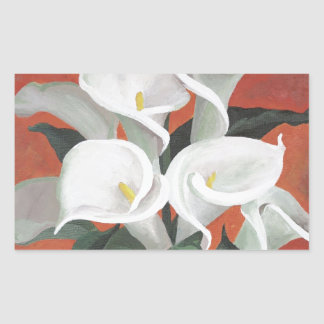 Calla Lilies On A Red Background Rectangular Sticker