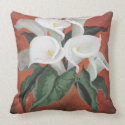 Calla Lilies On A Red Background Throw Pillows