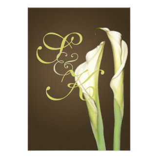 Calla lilies on coffee wedding Invitations