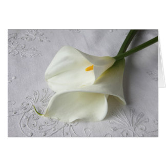 calla lilies on linen card