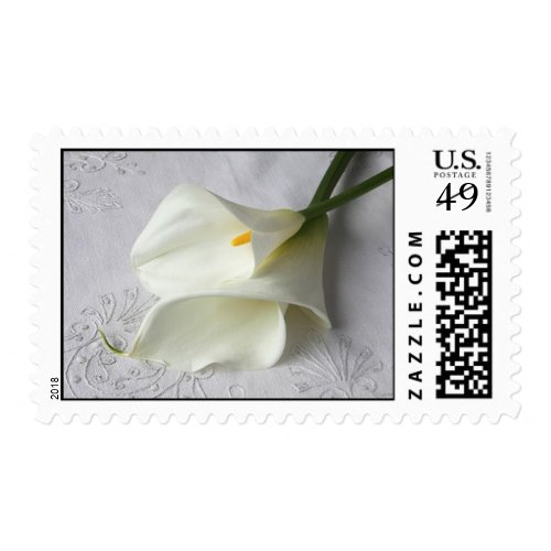 calla lilies on linen stamp