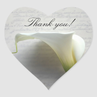 Calla lilies on old script thank you heart sticker