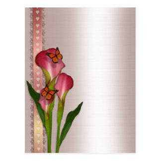 Calla lilies on pink satin wedding invitation postcard