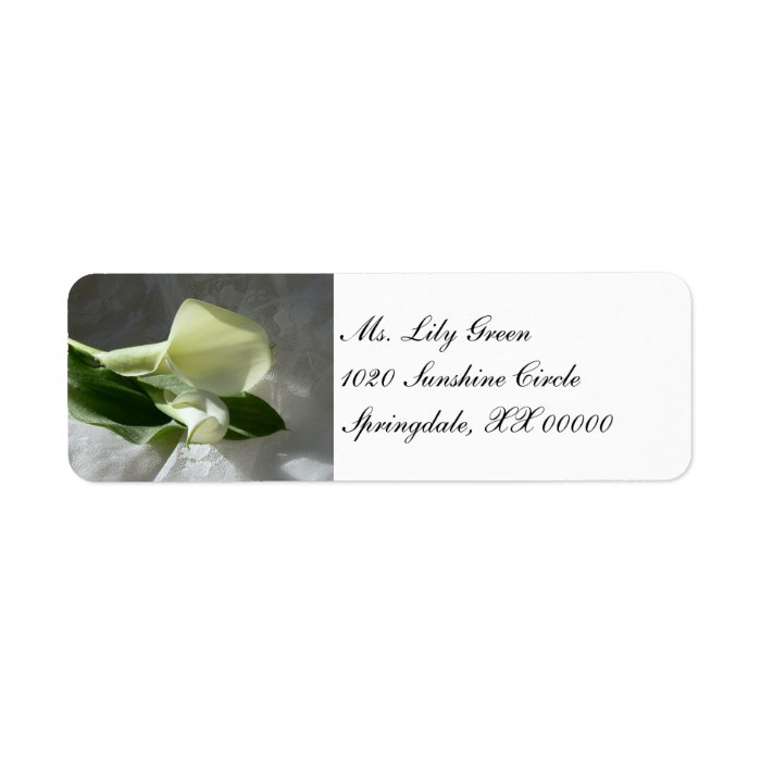 Calla Lilies on White Lace Label