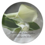 Calla Lilies on White Lace Wedding Melamine Plate
