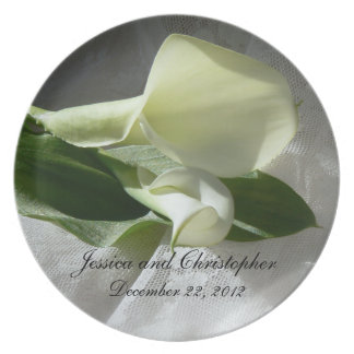 Calla Lilies on White Lace Wedding Party Plates