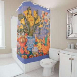 Calla Lilies, Scabiosa & Cornflowers Shower Curtain