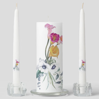 Calla Lilies Yellow Pink Lavender White Green Lily Unity Candle Set