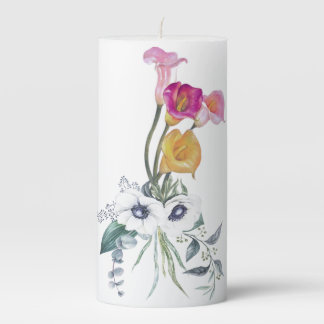 Calla Lilies Yellow Pink Lavender White Unity Lily Pillar Candle