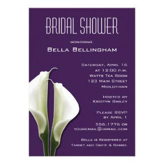 Calla Lillies Bridal Shower Invitation on Purple