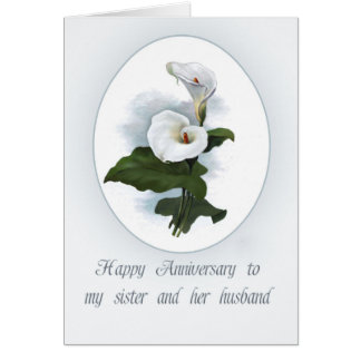 Calla Lilly Anniversary for Sister Greeting Card