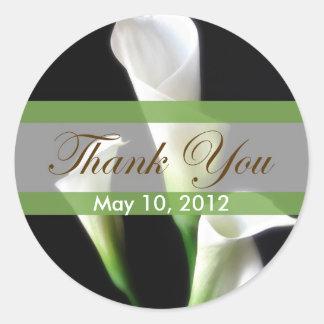 Calla Lily 3 Thank You Classic Round Sticker