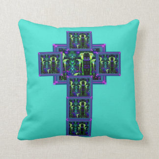 Calla Lily Amethyst Teal Cross by Sharles Throw Pillow
